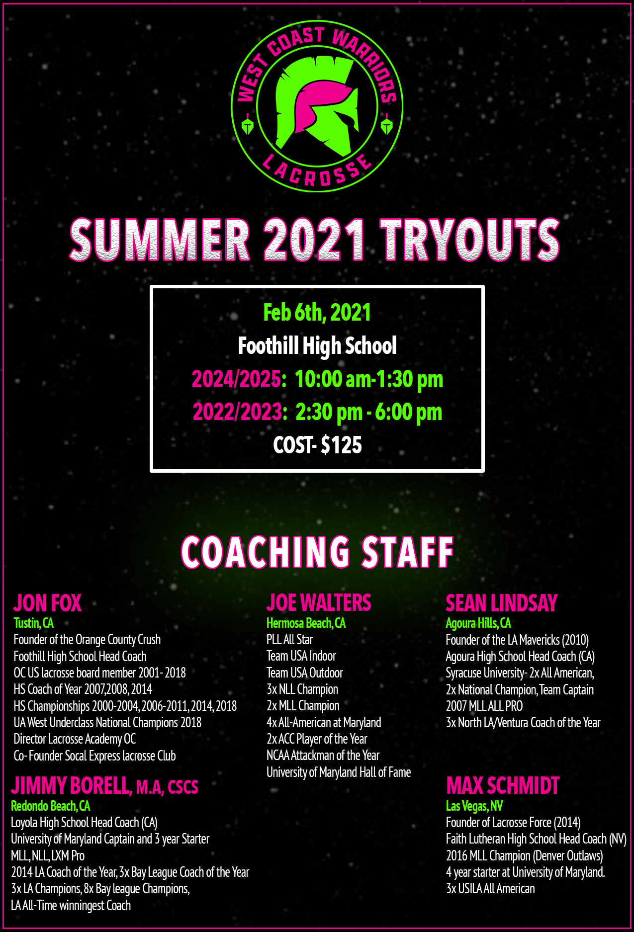 West Coast Warriors Announce Summer 2021 Tryouts