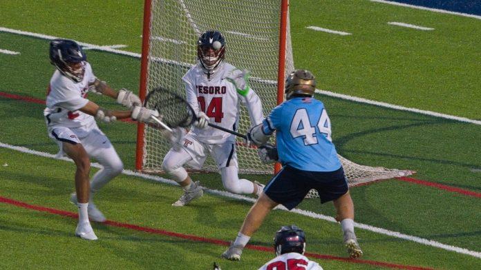 Tesoro boys lacrosse goalie Jackson Brady robs Ty Caffarelli
