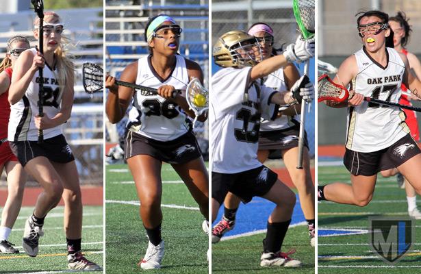 Oak Park girls lacrosse: Ania Brown, Emma Barrow, Meggie Sheehan, Morgan Shorts