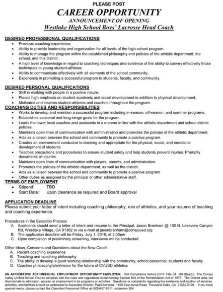 Westlake HS boys varsity job posting