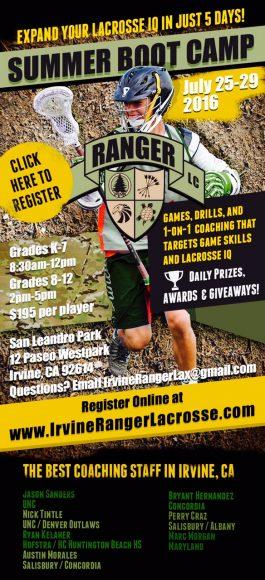 Ranger Lacrosse Summer Boot Camp Flyer