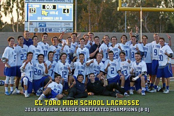 El Toro Boys Lacrosse, 2016 Sea View League Champs
