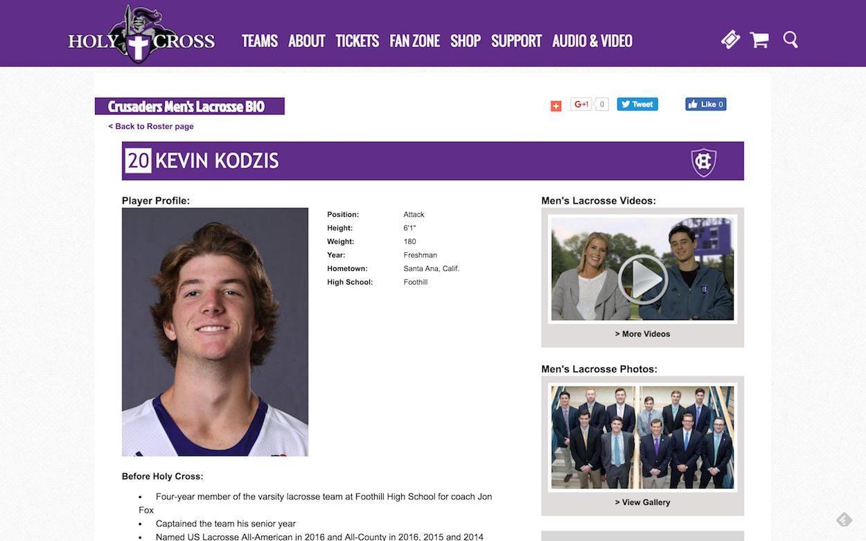 Kevin Kodzis Holy Cross Men's Lacrosse
