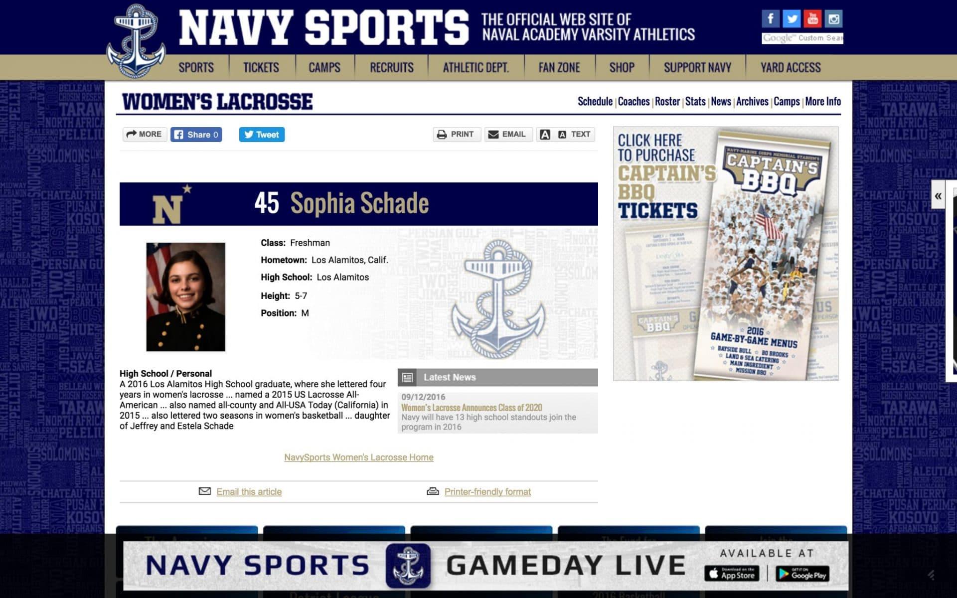 Sophia Schade will wear no. 45 for the Navy Women's Lacrosse team.