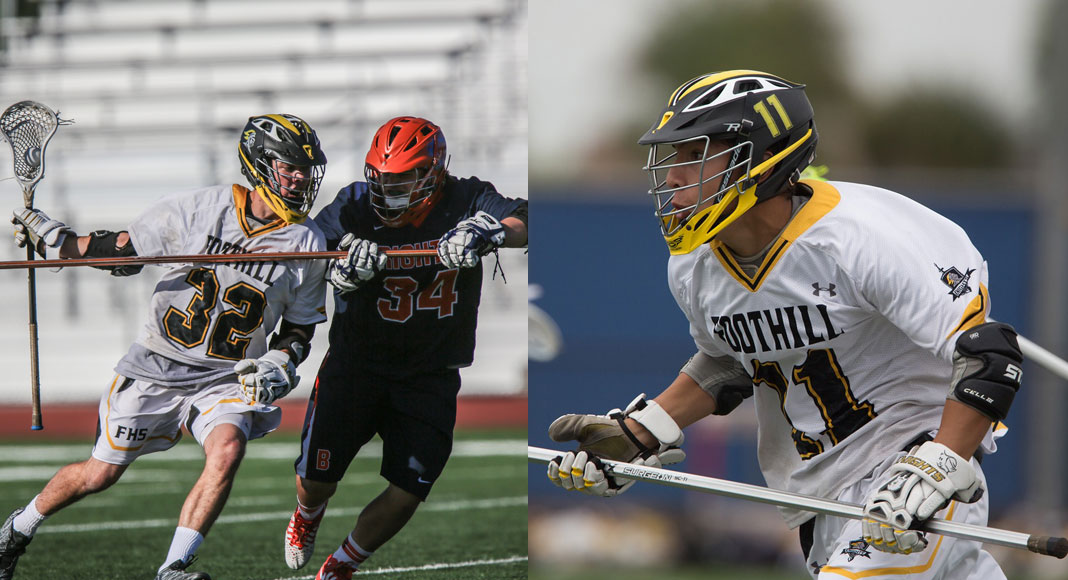 Cole Falbo (32) and George Dallis (11) are the 2017 Foothill boys lacrosse captains.