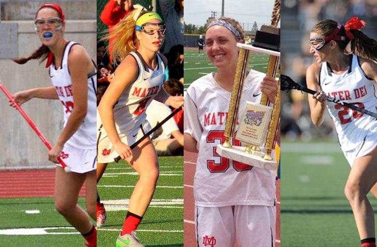 Mater Dei 2017 captains: Grace Houser, Sydney Payne, Mackenzie Wallevand, Courtney Wallburger