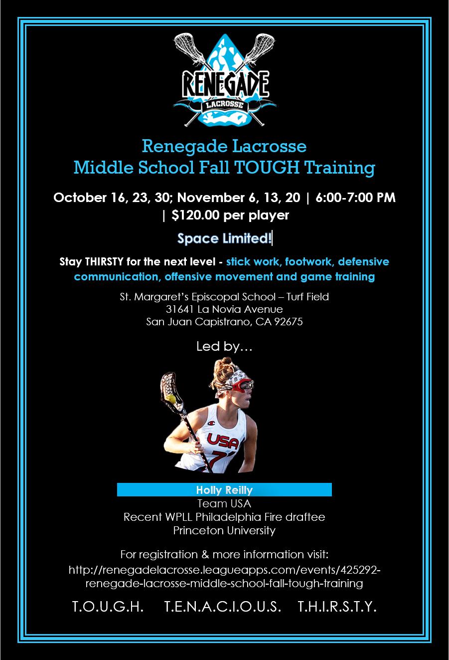 Renegade Lacrosse TOUGH MIddle School Training