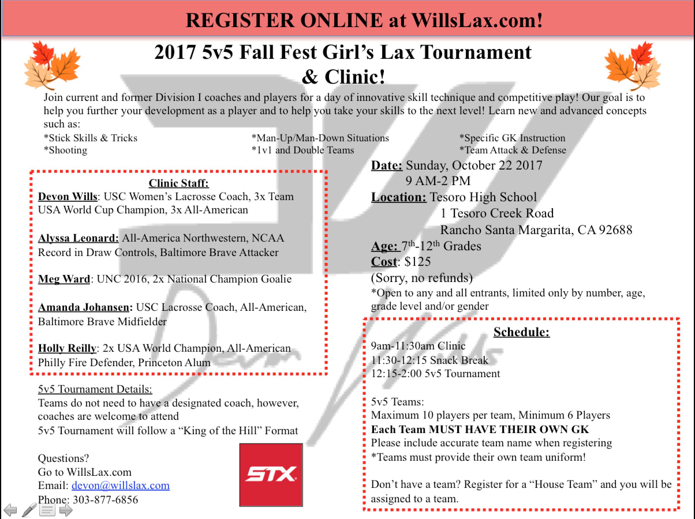 Devon Wills 5v5 girls lacrosse tournament and clinic