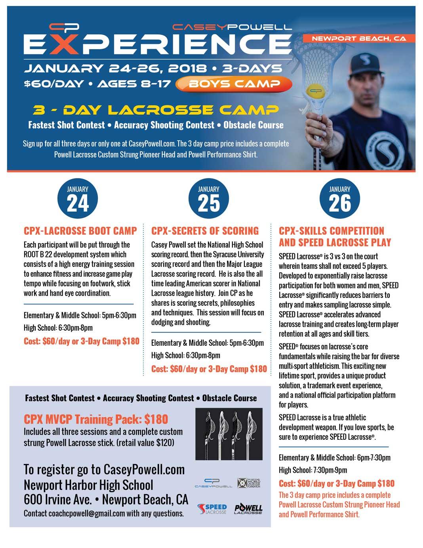 Casey Powell Experience Camp, Newport Beach, Jan. 24-26