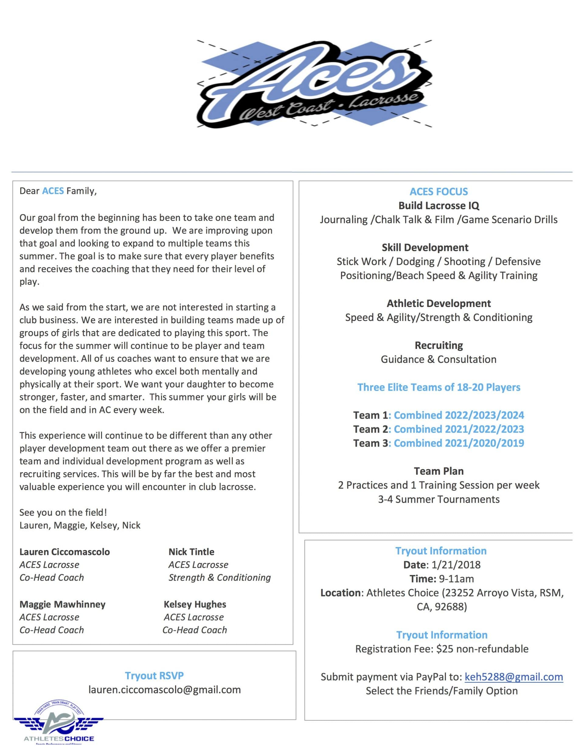 Aces Lacrosse Summer 2018 Tryouts