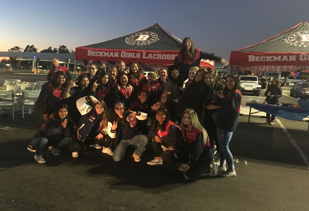 Beckman girls lacrosse at the Orange County Lacrosse Showcase tailgate party