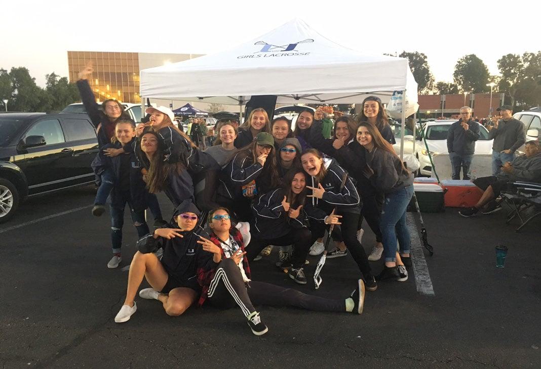 University girls lacrosse at the Orange County Lacrosse Showcase tailgate party